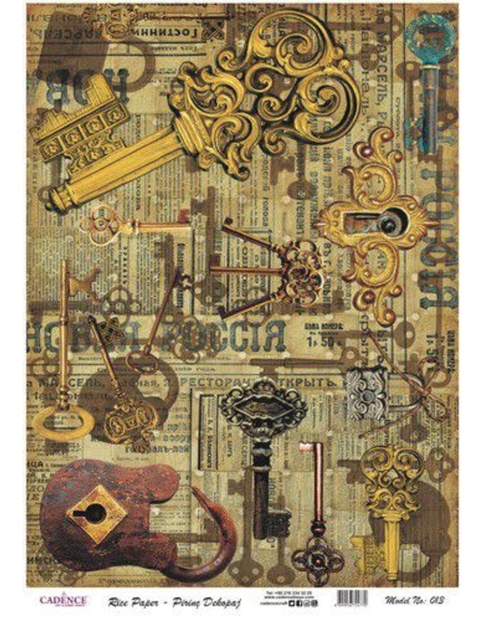 Cadence Cadence rijstpapier vintage sleutels Model No: 013