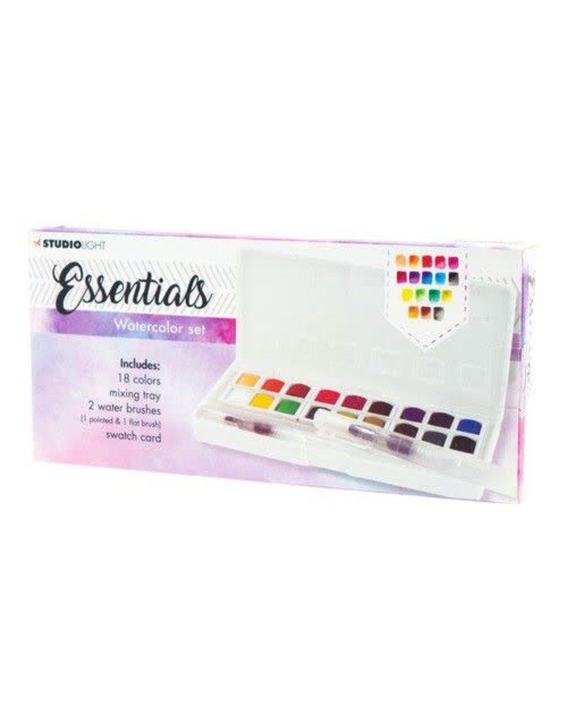 Studio Light Studio Light Aquarelset 18 Colors + 2 Brushes Essentials nr.01 WCSL01