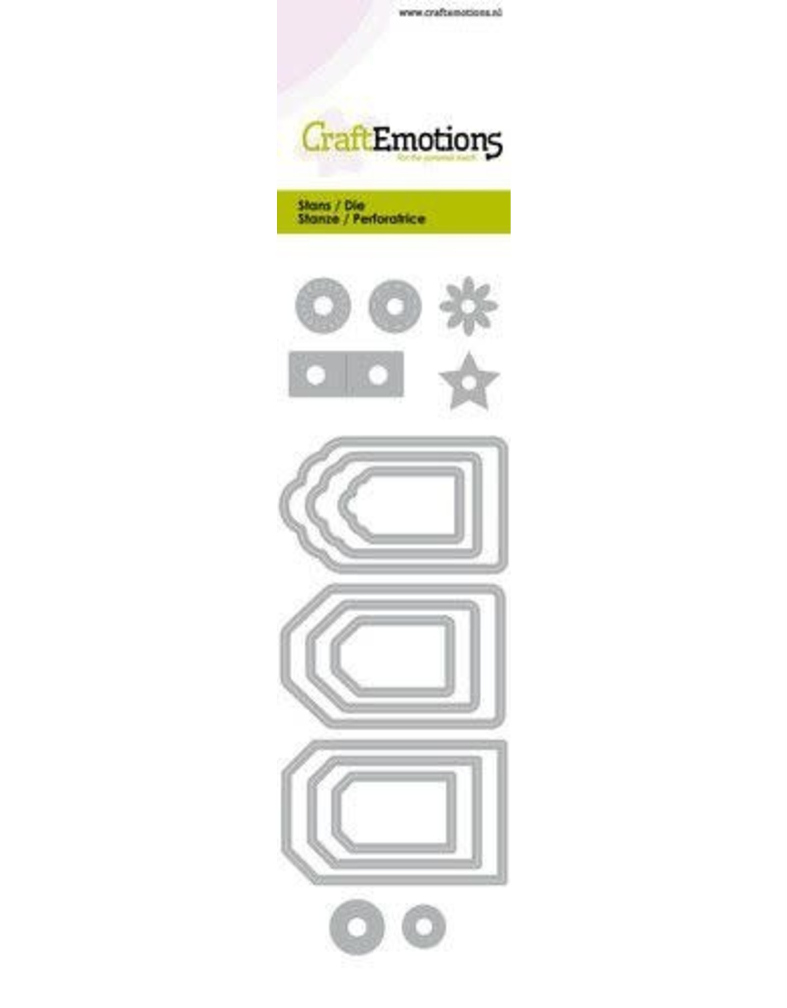 Craft Emotions CraftEmotions Die - label variatie 9 stuks Card 5x15cm - 14,5cm