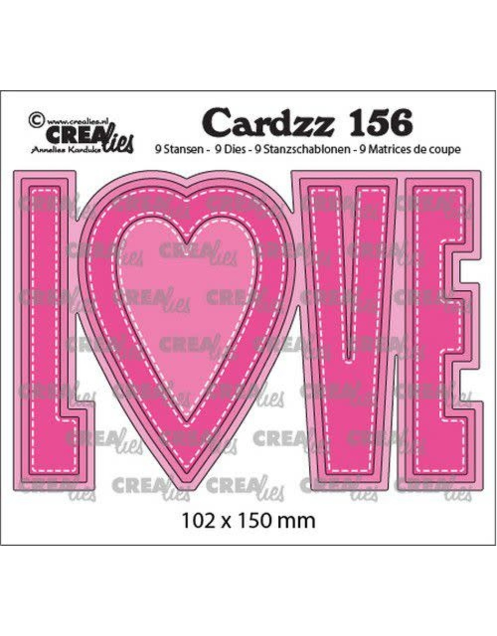 Crealies Crealies Cardzz no 156 LOVE (ENG) CLCZ156 102x150mm
