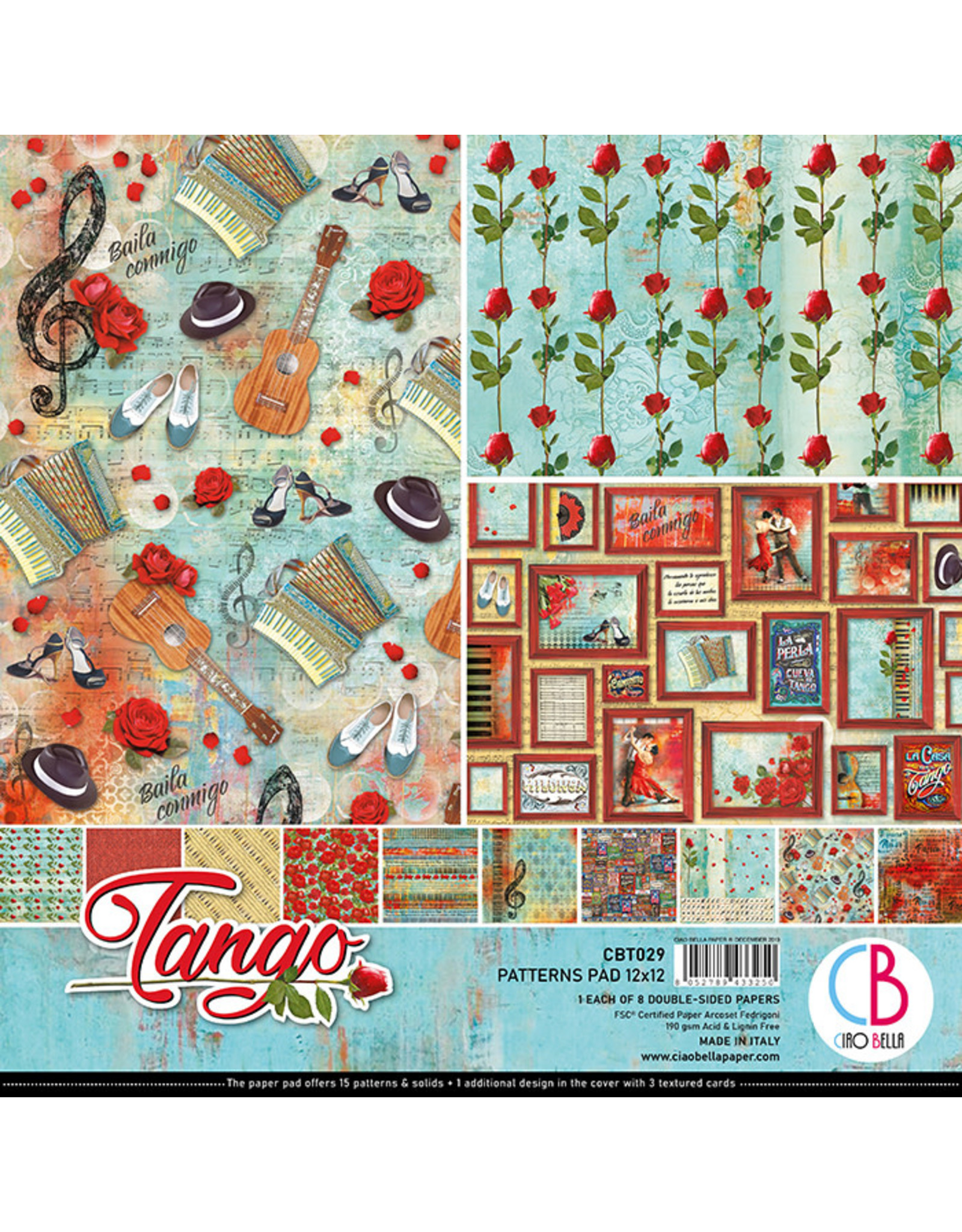 """Ciao Bella Ciao Bella Tango Double-Sided Patterns Pad 12""""x12"""""""