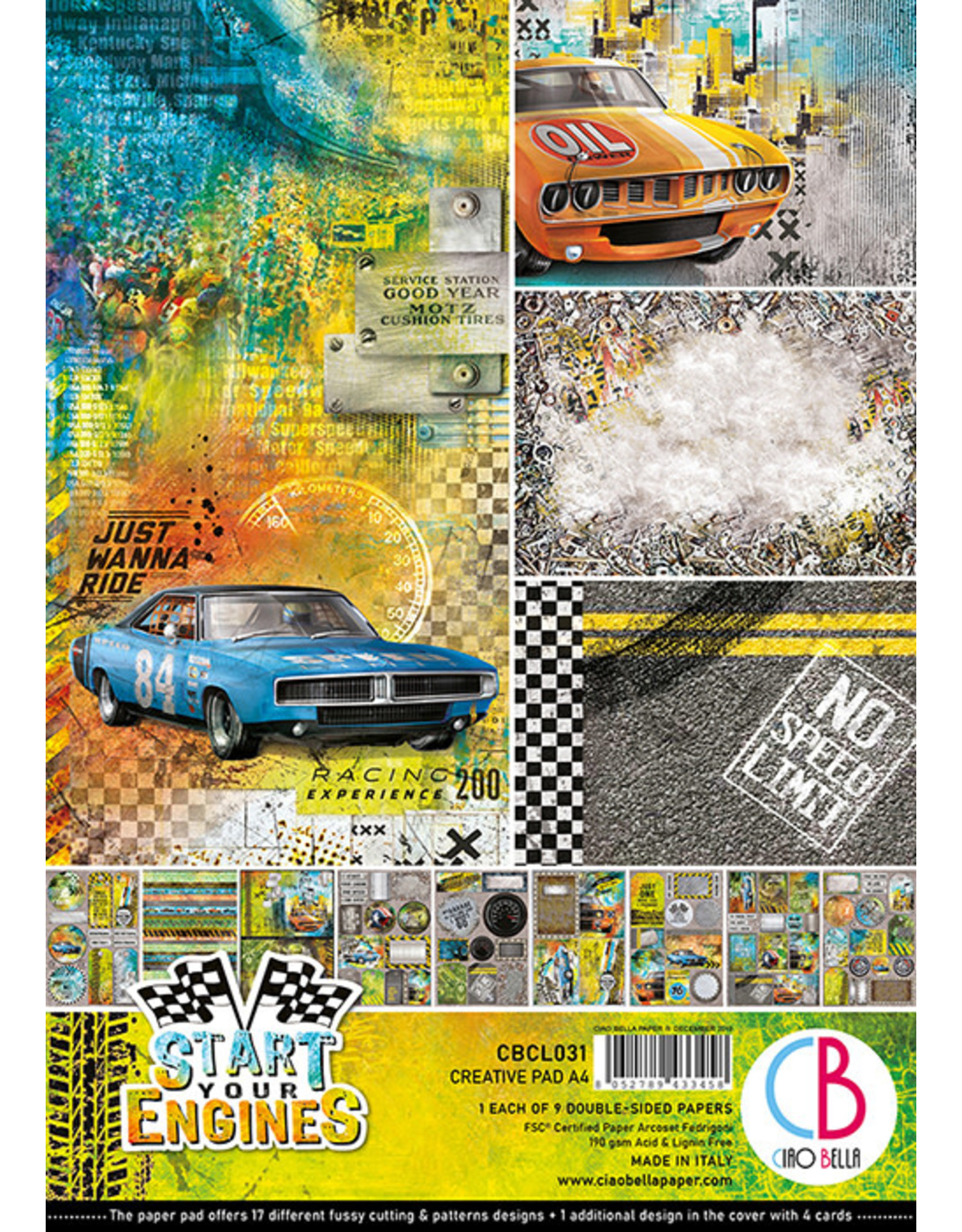 Ciao Bella Ciao Bella Start your Engines Double-Sided Creative Pad A4