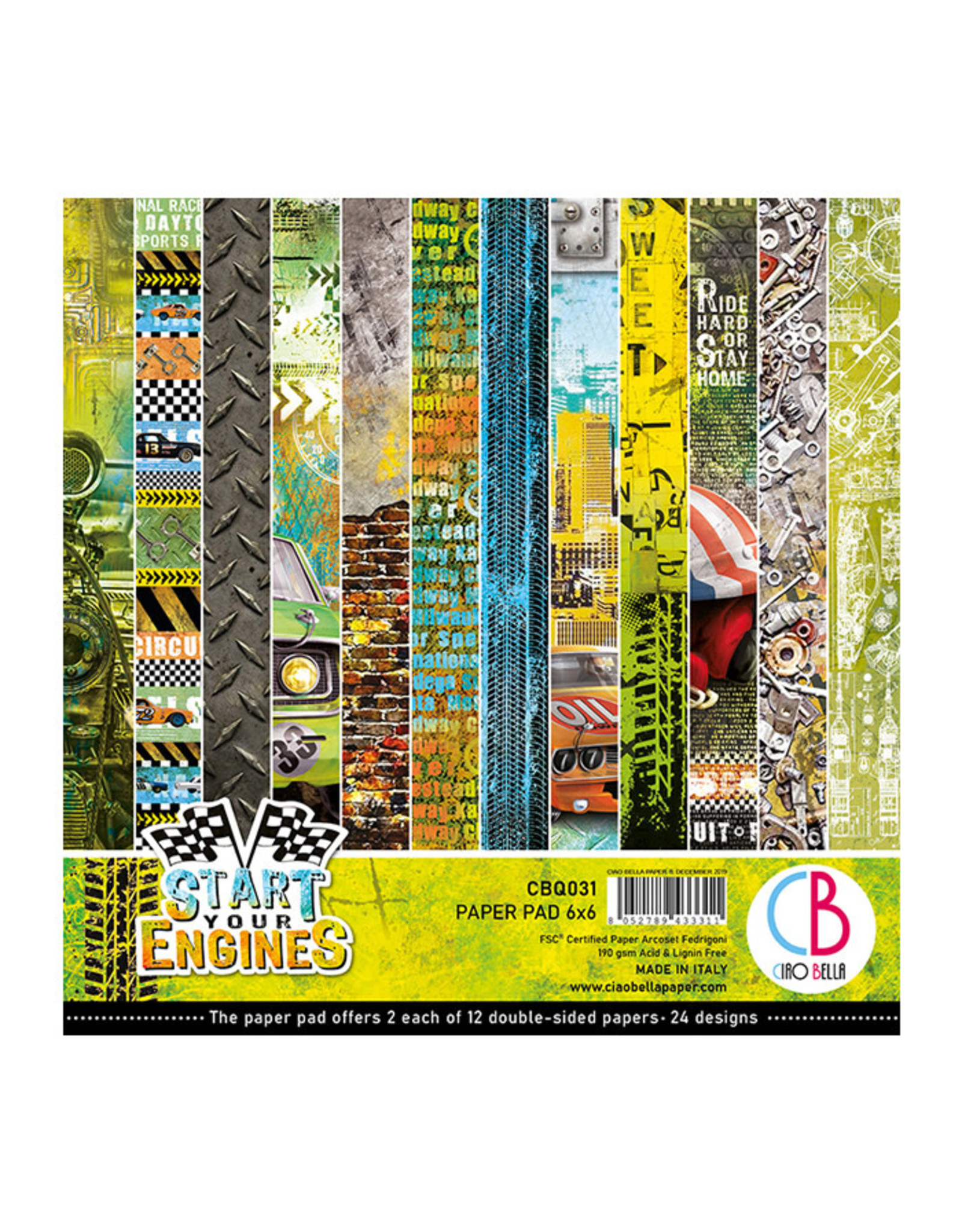 """Ciao Bella Ciao Bella Start your Engines Double-Sided Paper Pad 6""""x6"""""""