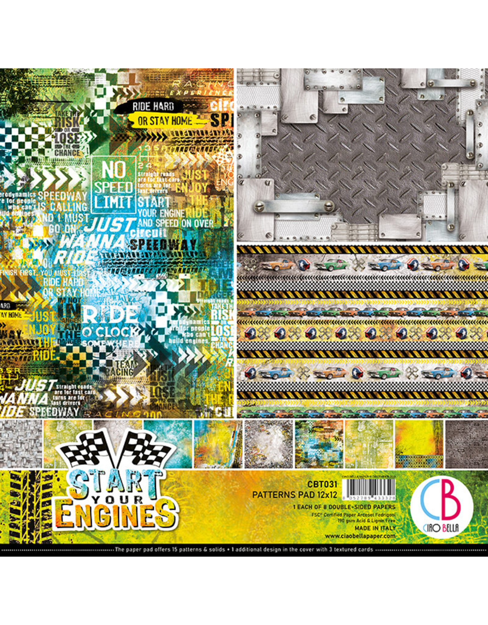 """Ciao Bella Ciao Bella Start your Engines Double-Sided Patterns Pad 12""""x12"""""""