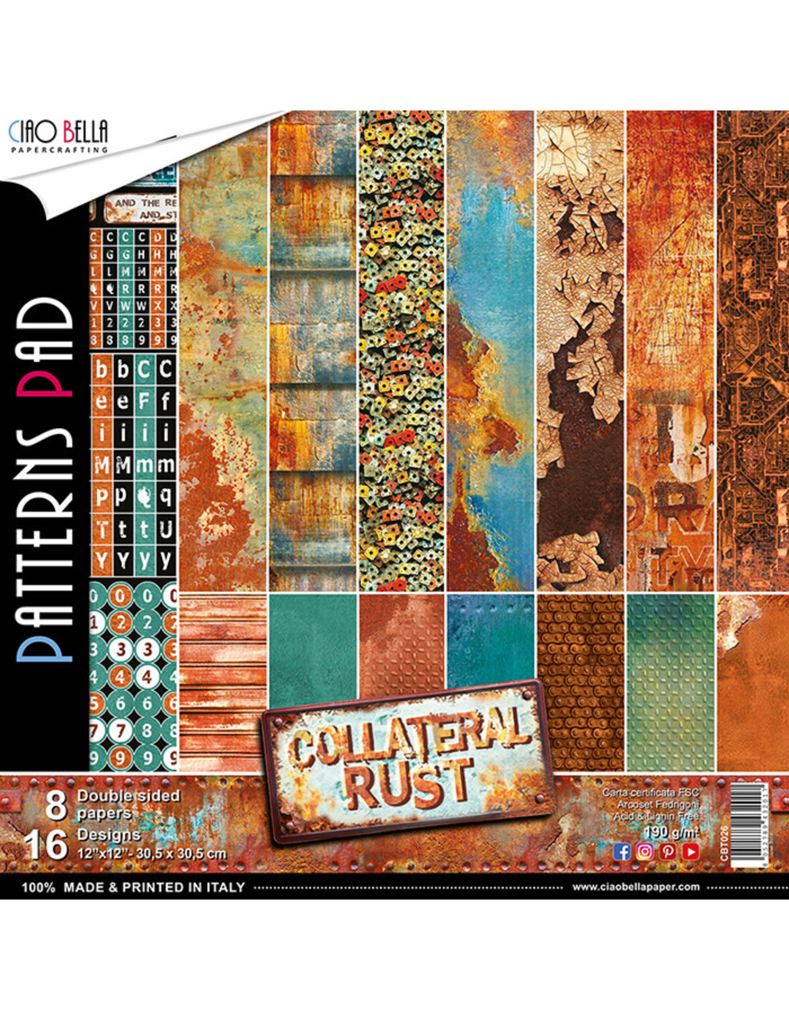"""Ciao Bella Ciao Bella Collateral Rust Double-Sided Patterns Pad 12""""x12"""""""