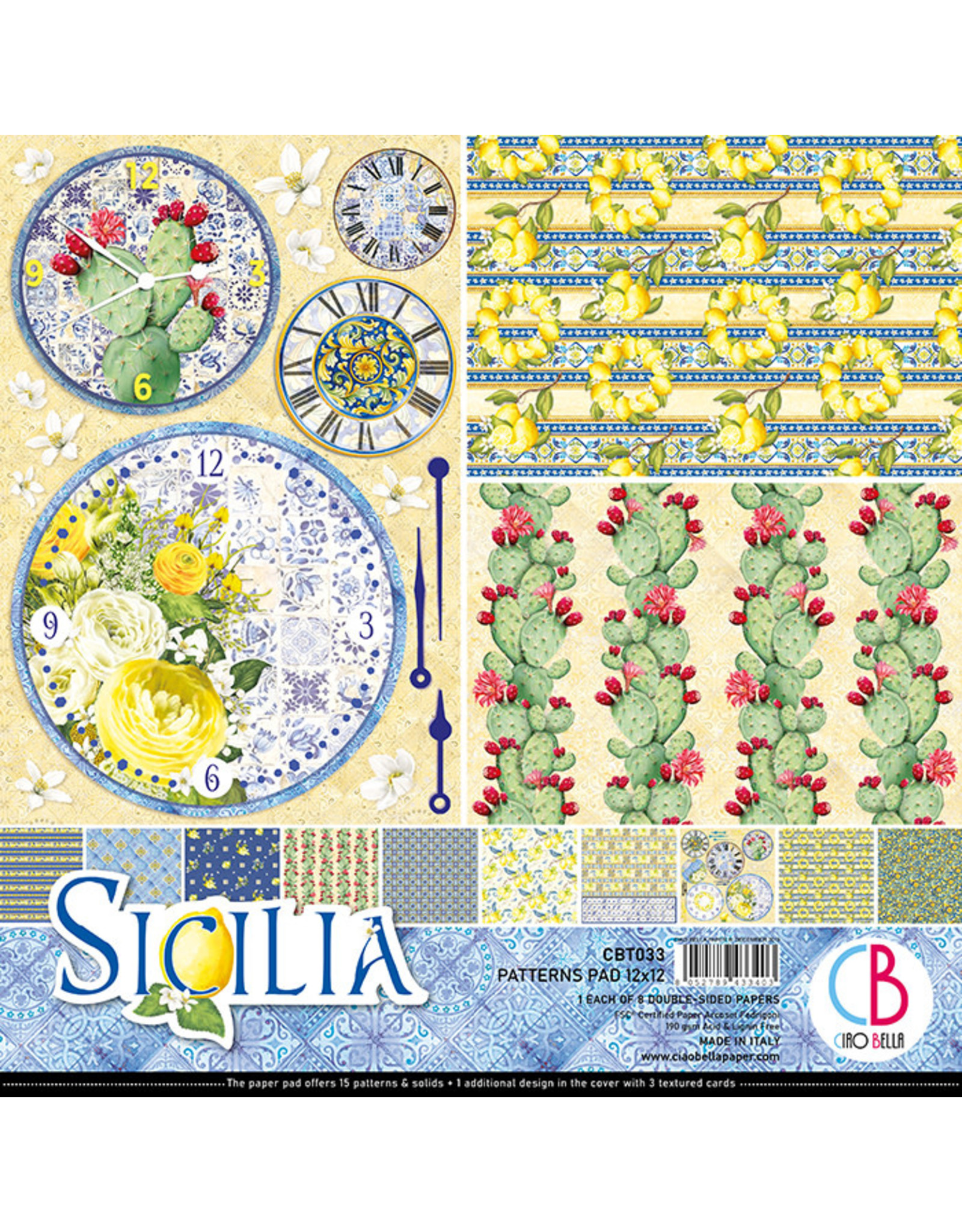 "Ciao Bella Ciao Bella Sicilia Double-Sided Patterns Pad 12""x12"""