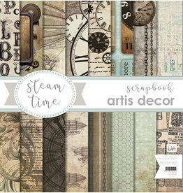 """Artis Decor Artis decor COLECCION PAPEL SCRAP 12X12"""" ARTIS DECOR """"STEAM TIME"""" 8 HOJAS."""