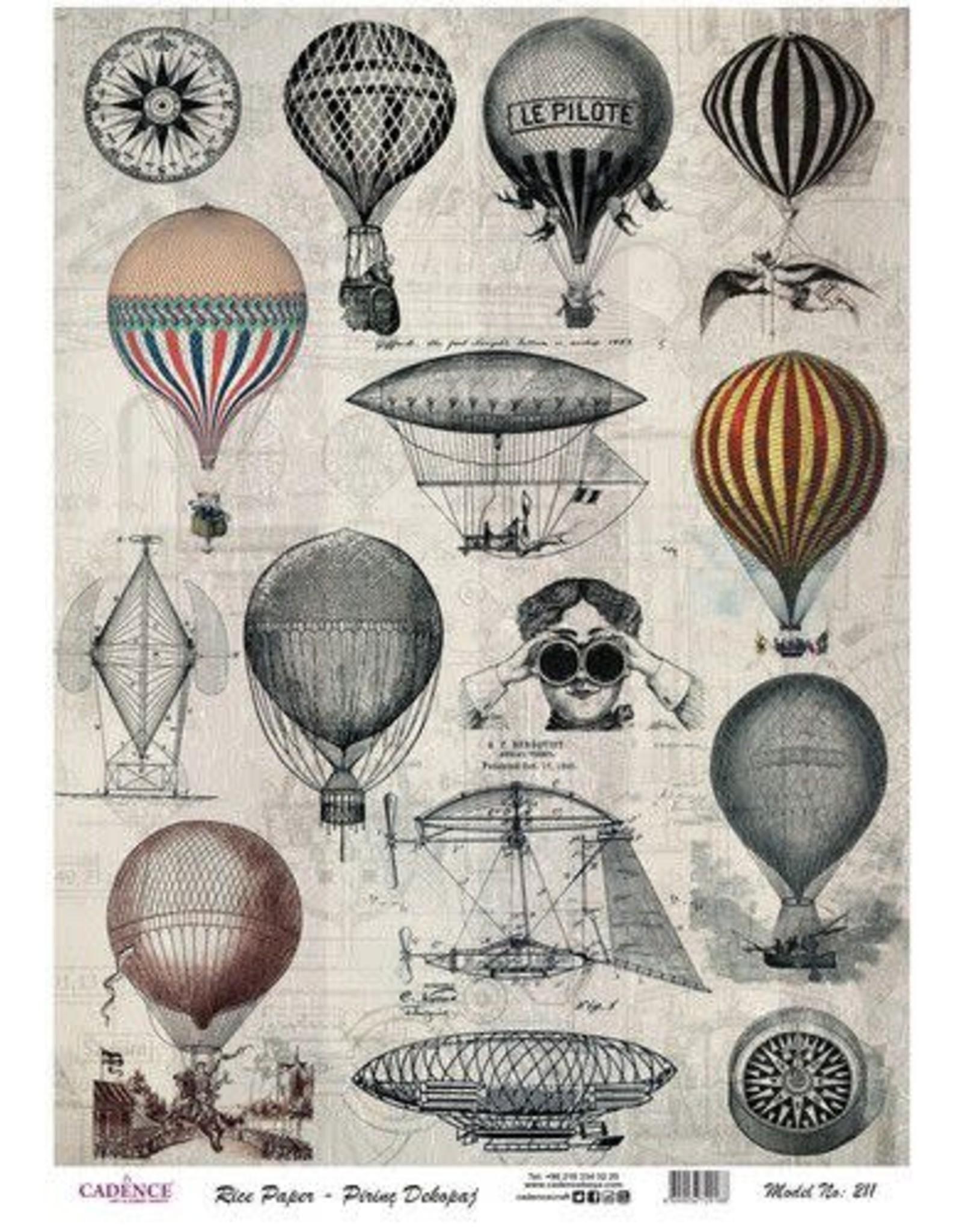 Cadence Cadence rijstpapier vintage luchtballonnen Model No: 211