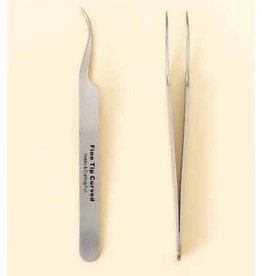 hobby crafting fun Pincet stainless steel fijne punt gebogen 12 cm