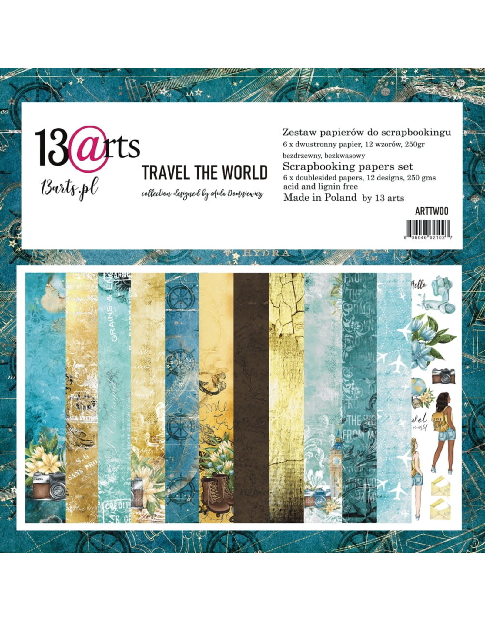 13@rts 13@rts Travel  the world paperpad 12x12