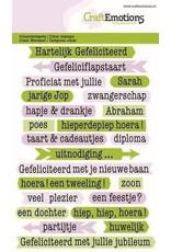 Craft Emotions CraftEmotions clearstamps A6 - tekst typewriter gefeliciteerd (NL)