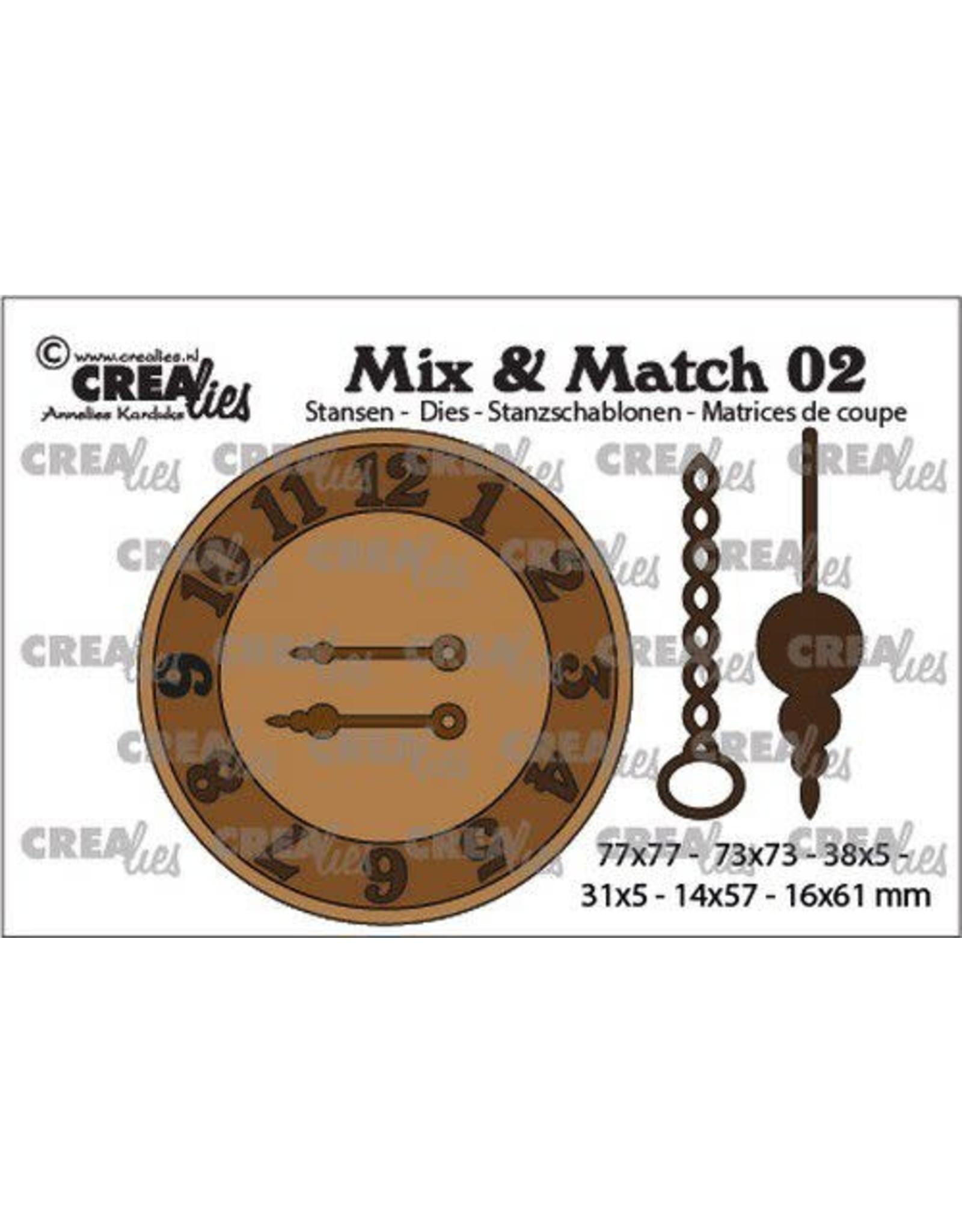 Crealies Crealies Mix & Match klok met ketting en slinger CLMix02 31x5 - 77x77mm