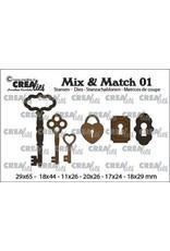 Crealies Crealies Mix & Match 3x sleutels+ 2x slot+ 1x hangslot CLMix01 29x65 - 11x26mm