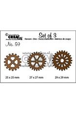 Crealies Crealies Set of 3 no. 59 3x tandwielen CLSet59 3x max. 29mm
