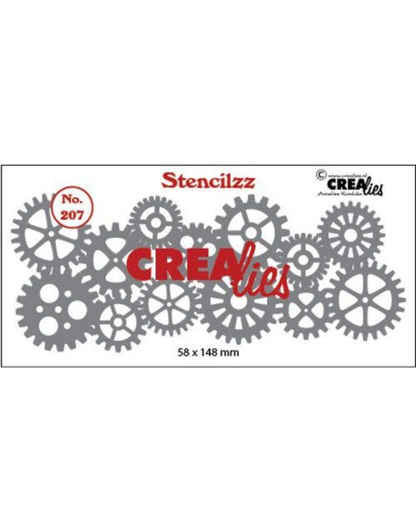 Crealies Crealies Stencilzz no. 207 tandwielen CLST207 58 x 148mm