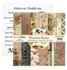 ScrapBoys Flowers Story paperpad 24 vl+cut out elements-DZ   FLST-09 190gr 15,2cmx15,2cm