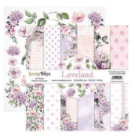 Scrapboys ScrapBoys Loveland paperset 12 vl+cut out elements-DZ LOLA-08 190gr 30,5cmx30,5c