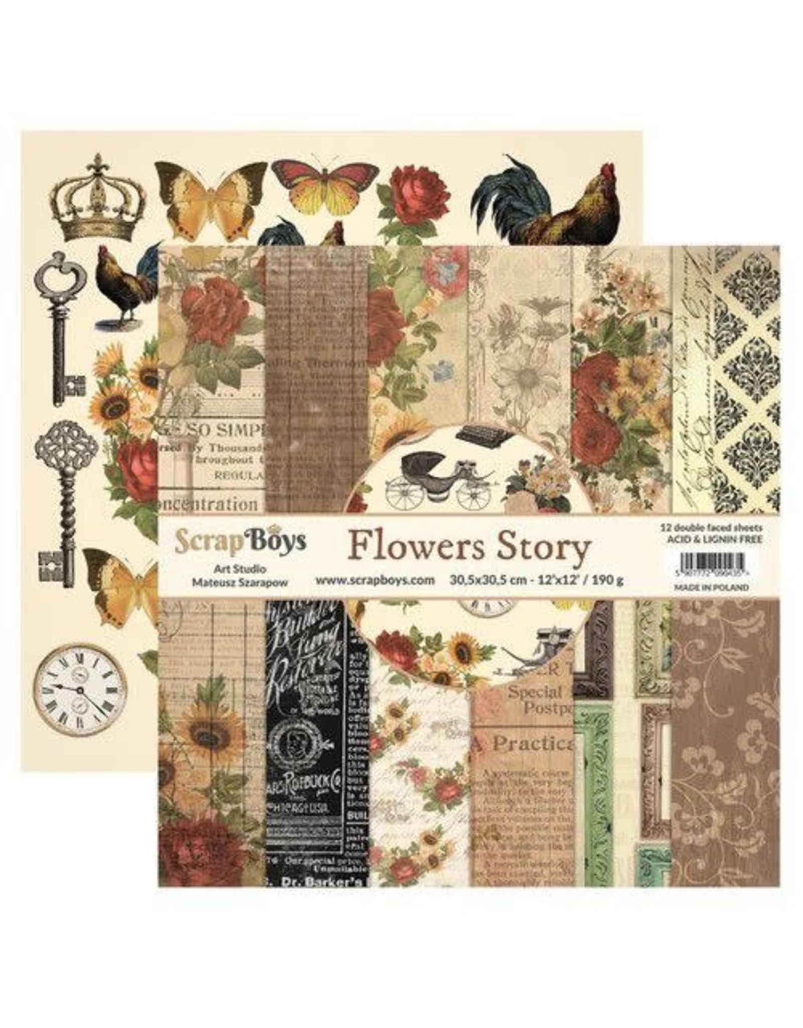 Scrapboys ScrapBoys Flowers Story paperset 12 vl+cut out elements-DZ FLST-08 190gr 30,5cmx30,5cm