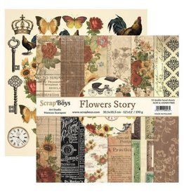 Scrapboys ScrapBoys Flowers Story paperset 12 vl+cut out elements-DZ FLST-08 190gr 30,5cmx30,5cm
