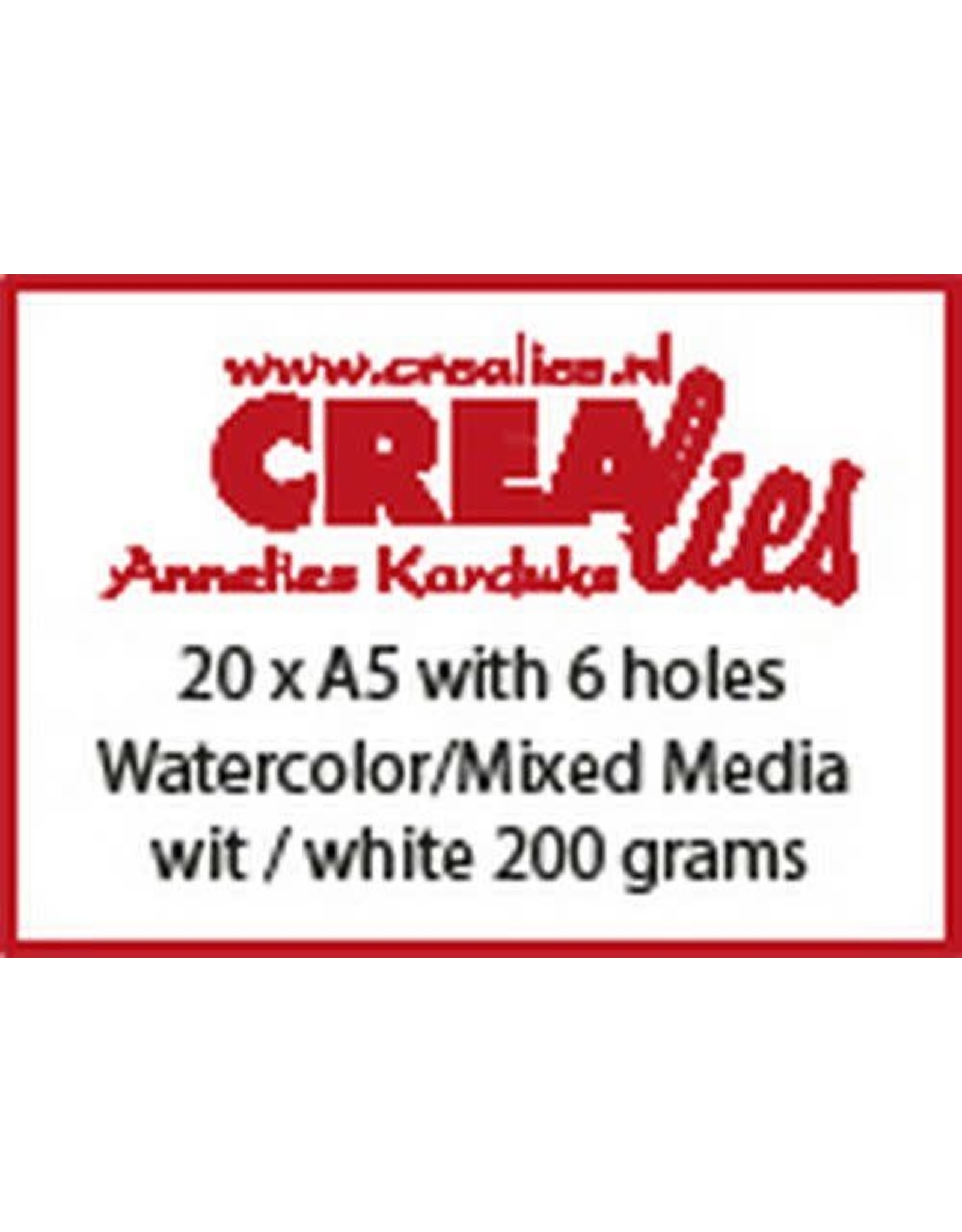 Crealies Crealies Basis A5 watercolor 200 grm (20x) CLBS204 A5 with 6 holes
