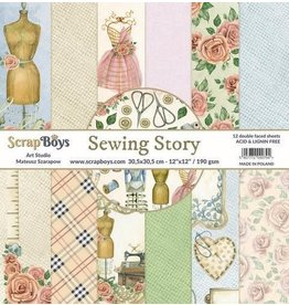 Scrapboys ScrapBoys Sewing Love paperset 12 vl+cut out elements-DZ SELO-01 190gr 30,5cmx30,5cm