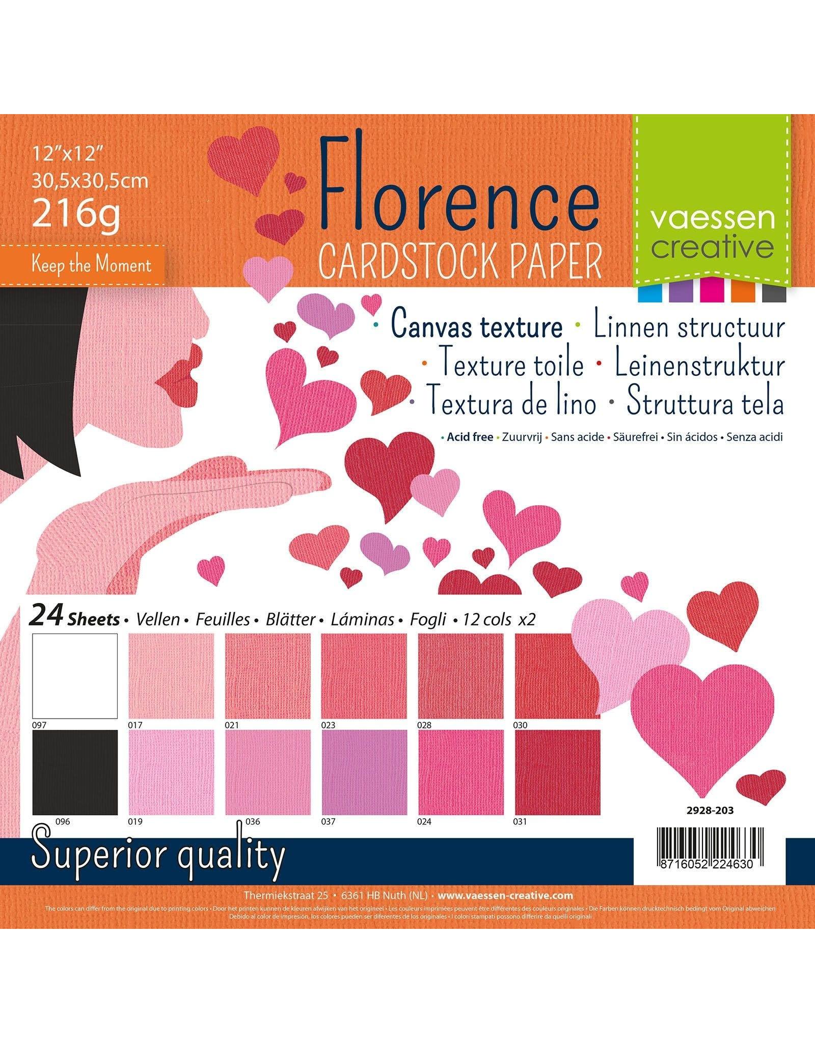 Vaessen Creative Florence • Cardstock multipack 30,5x30,5cm Valentijn