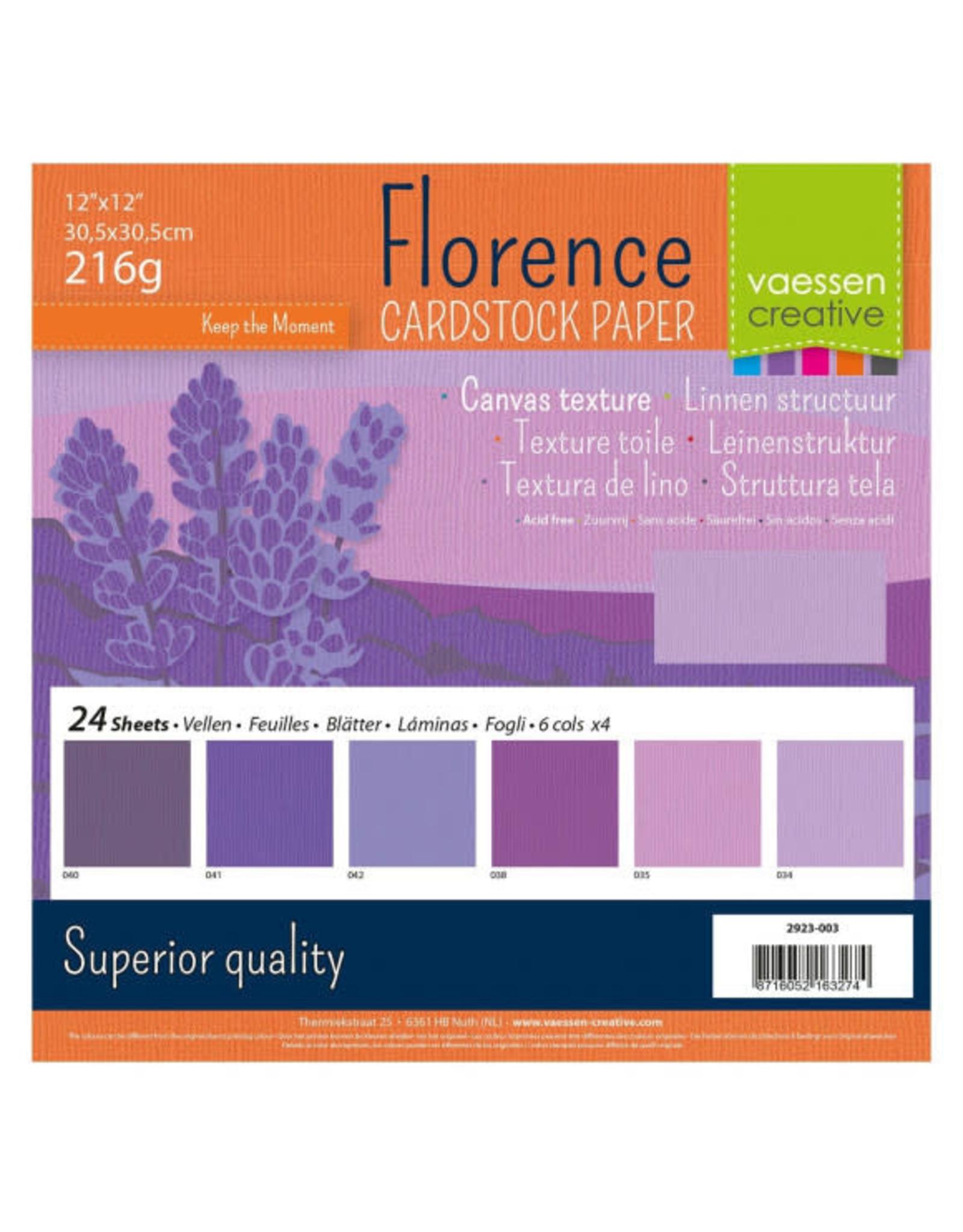 Vaessen Creative Vaessen Creative Florence • Cardstock multipack 30,5x30,5cm Paars