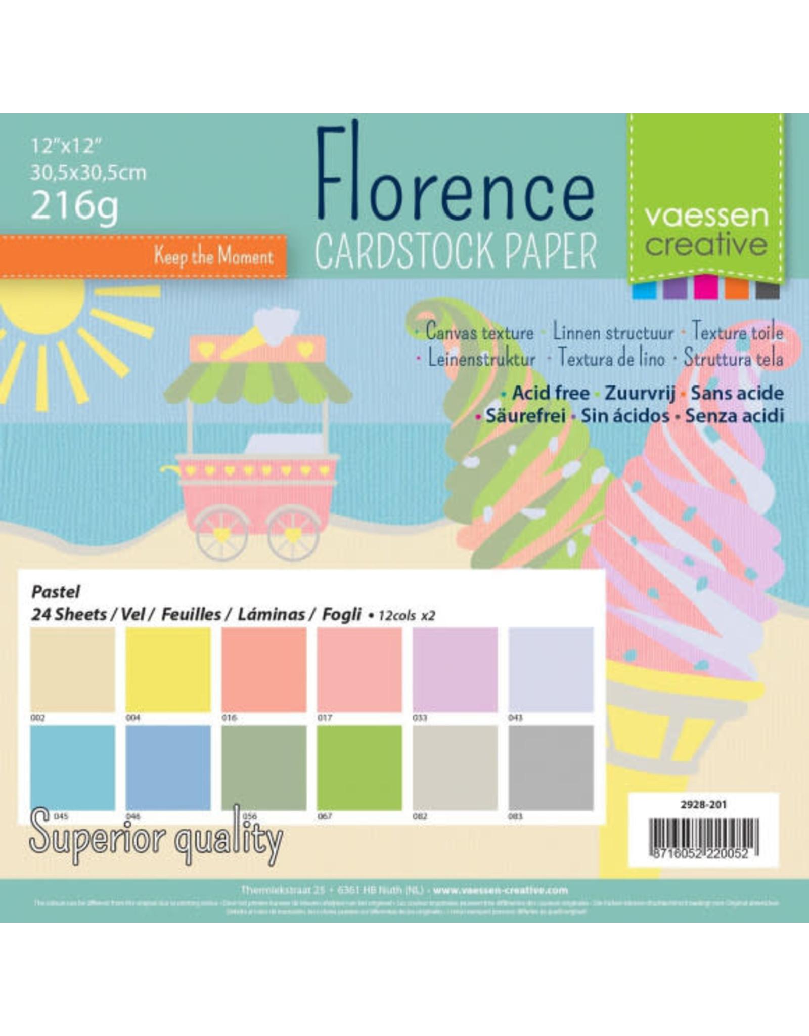 Vaessen Creative Florence • Cardstock multipack 30,5x30,5cm Pastel