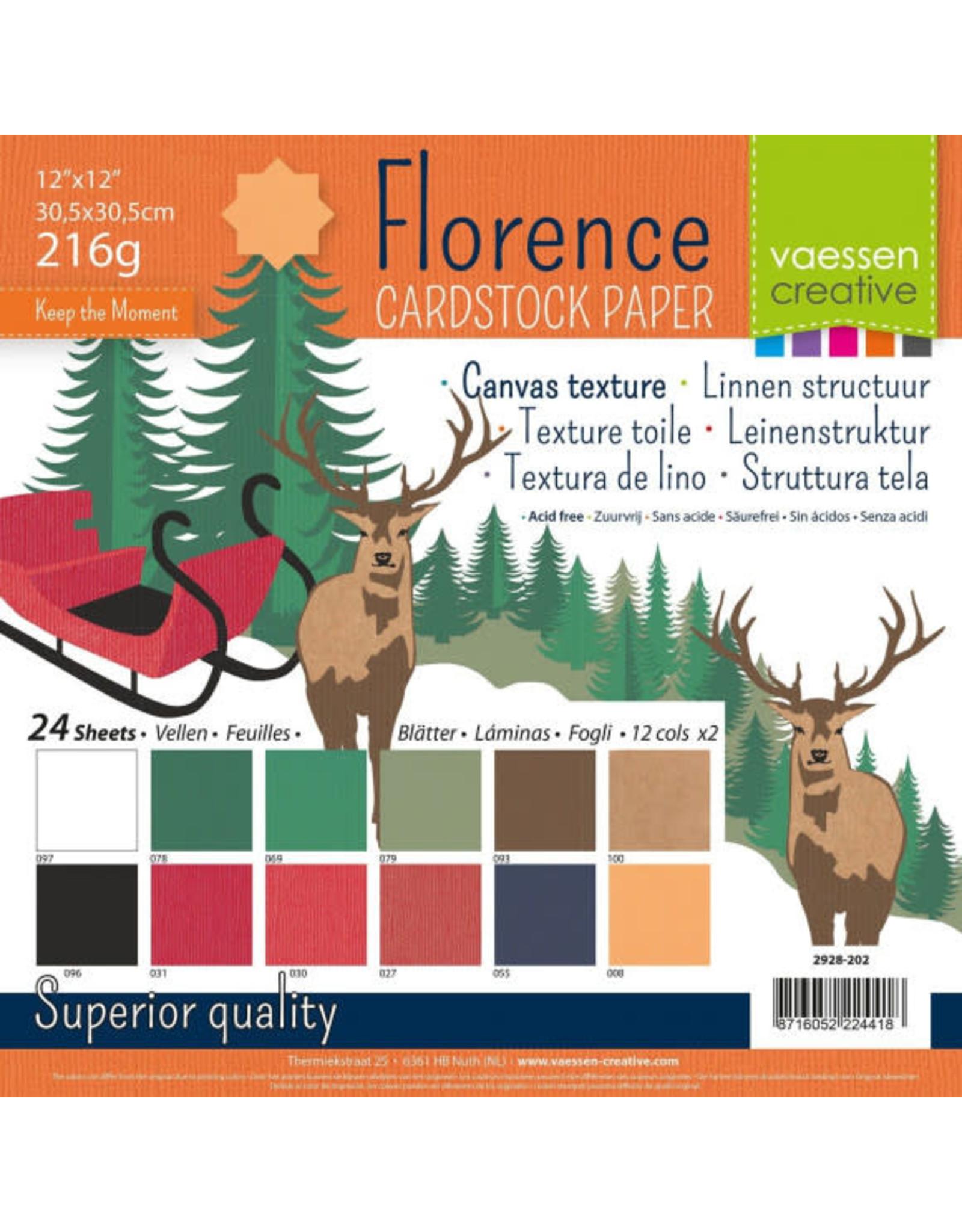 Vaessen Creative Florence • Cardstock multipack 30,5x30,5cm Kerst