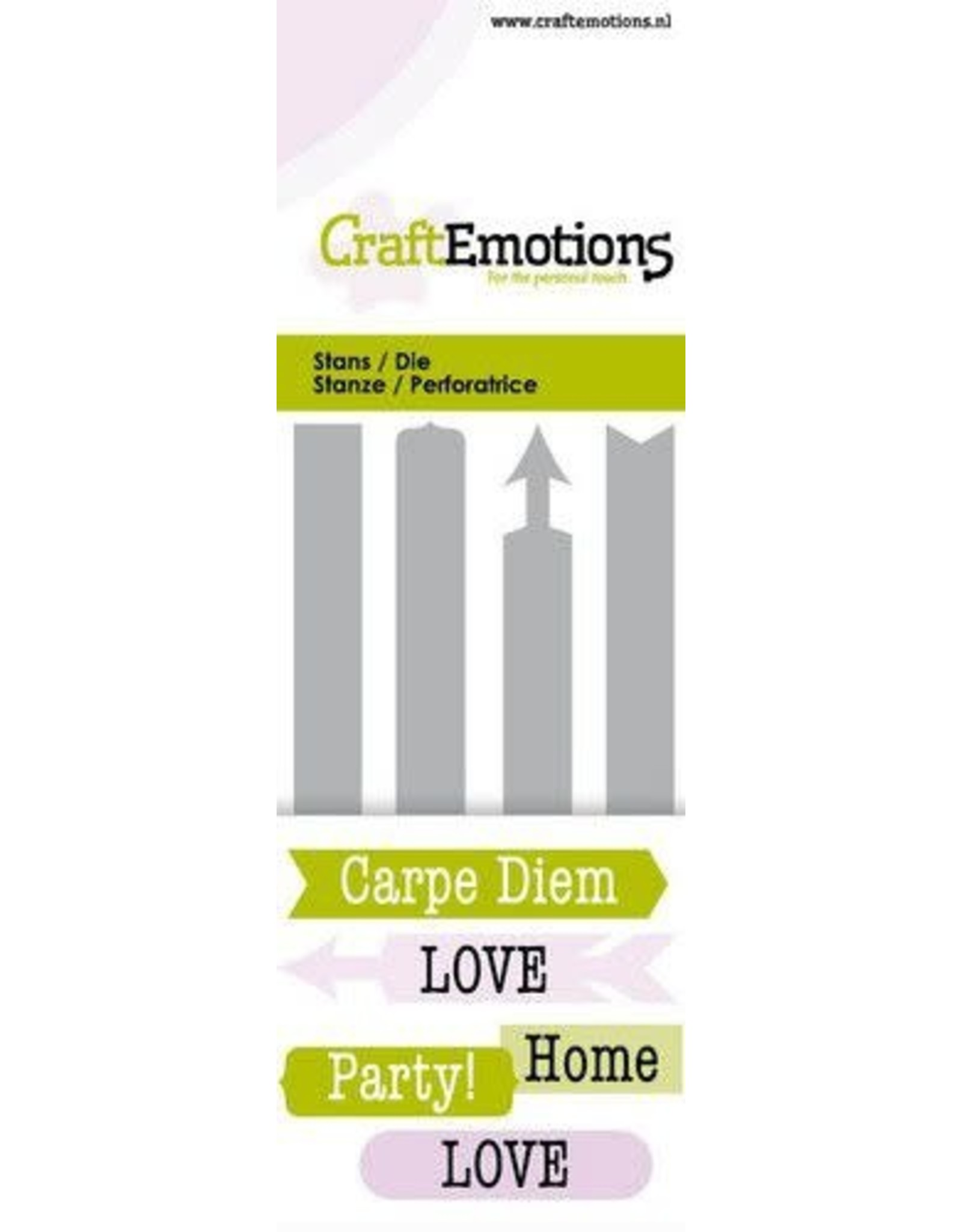 Craft Emotions CraftEmotions Die - tekst Signs Card 5x10cm