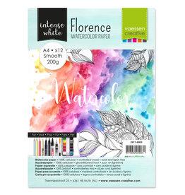 Vaessen Florence • Aquarelpapier smooth White A4 12pcs 200g
