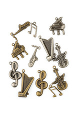 hobby crafting fun hobby crafting & fun Embellishment Metaal Assortie muziek, brons en zilver