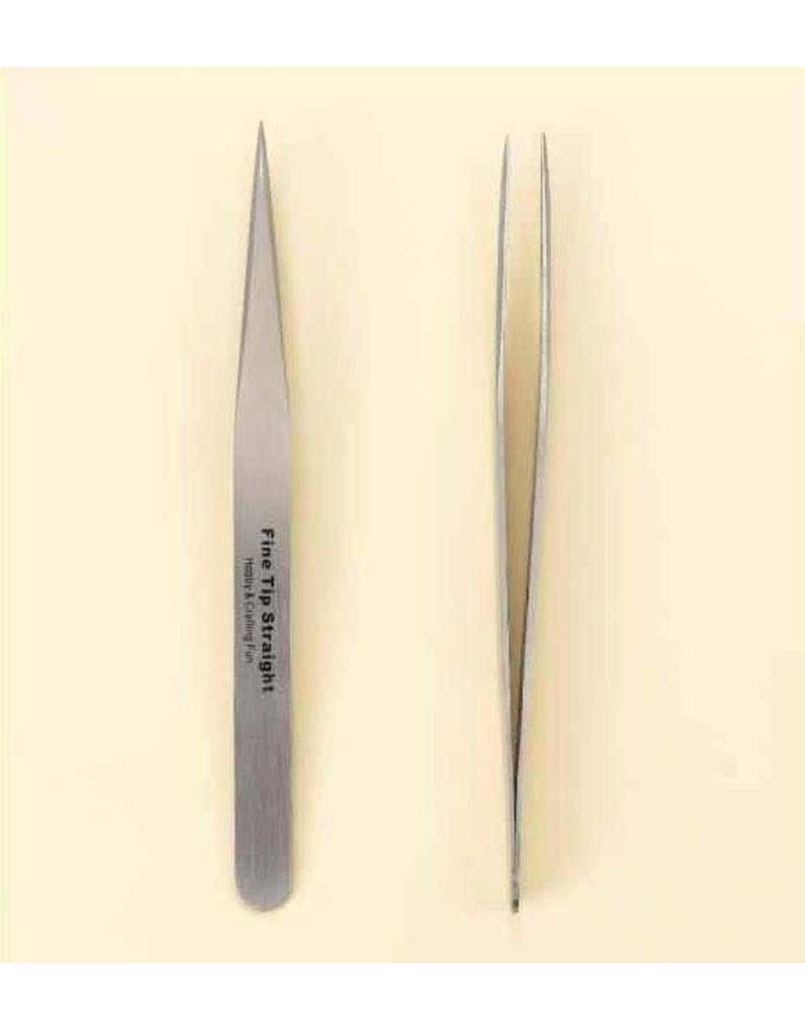 Craft Emotions Pincet stainless steel fijne punt recht 12,5 cm