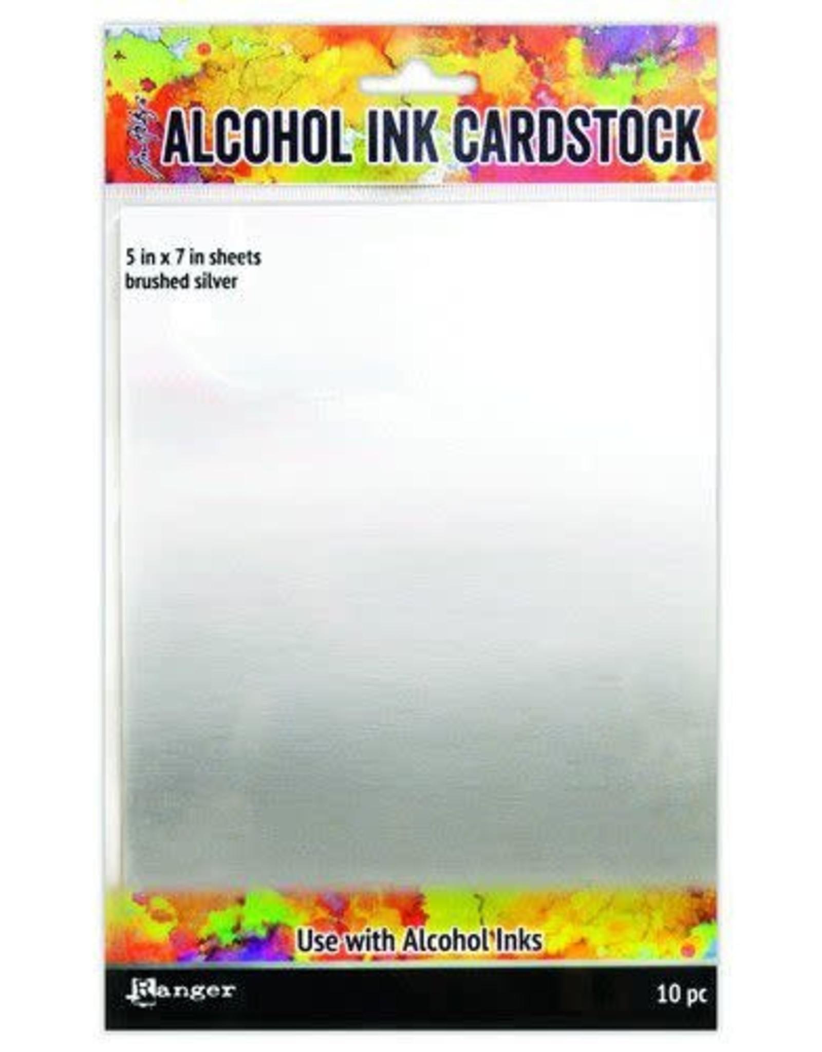 Ranger Ranger Alcohol Ink Surfaces Brushed Silver 5x7 10 sh TAC65494 Tim Holtz