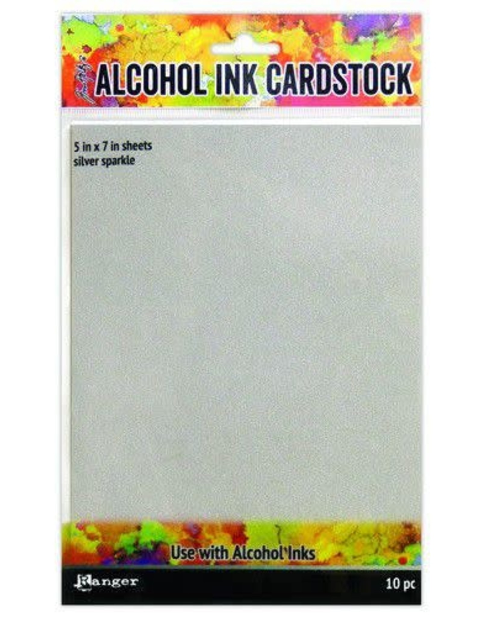 Ranger Ranger Alcohol Ink Surfaces Silver Sparkle 5x7 10 sh TAC65500 Tim Holtz