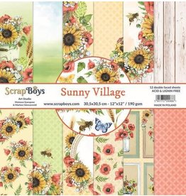 Scrapboys ScrapBoys Sunny Village paperset 12 vl+cut out elements-DZ SUVI-08 190gr 30,5 x 30,5cm