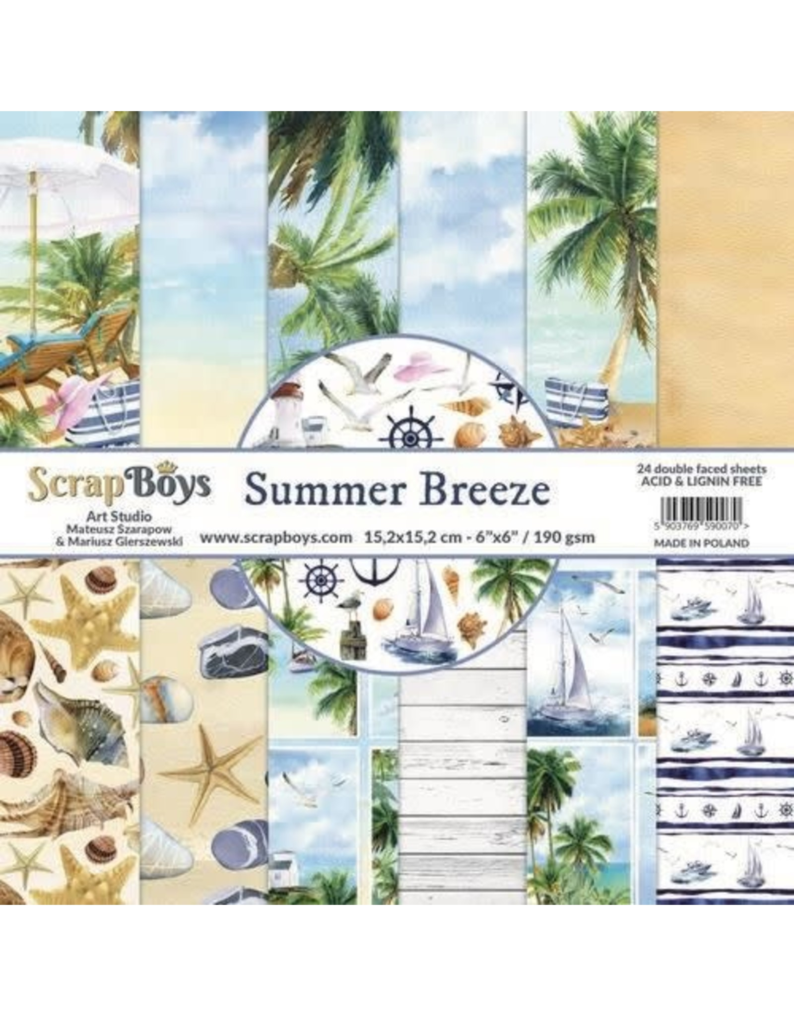 Scrapboys ScrapBoys Summer Breeze paperpad 24 vl+cut out elements-DZ SUBR-09 190gr 15,2 x 15,2cm