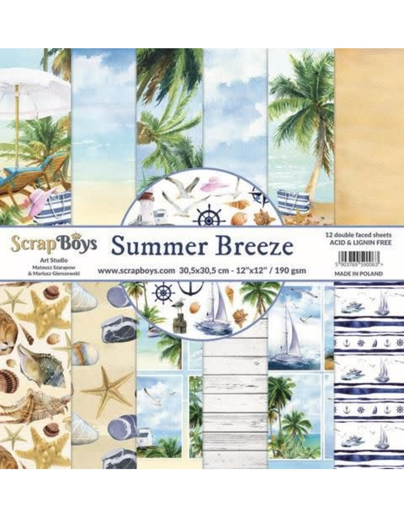 Scrapboys ScrapBoys Summer Breeze paperset 12 vl+cut out elements-DZ SUBR-08 190gr 30,5 x 30,5cm