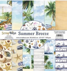 Scrapboys ScrapBoys Summer Breeze paperset 12 vl+cut out elements-DZ SUBR-08 190gr 30,5 x 30,5cm