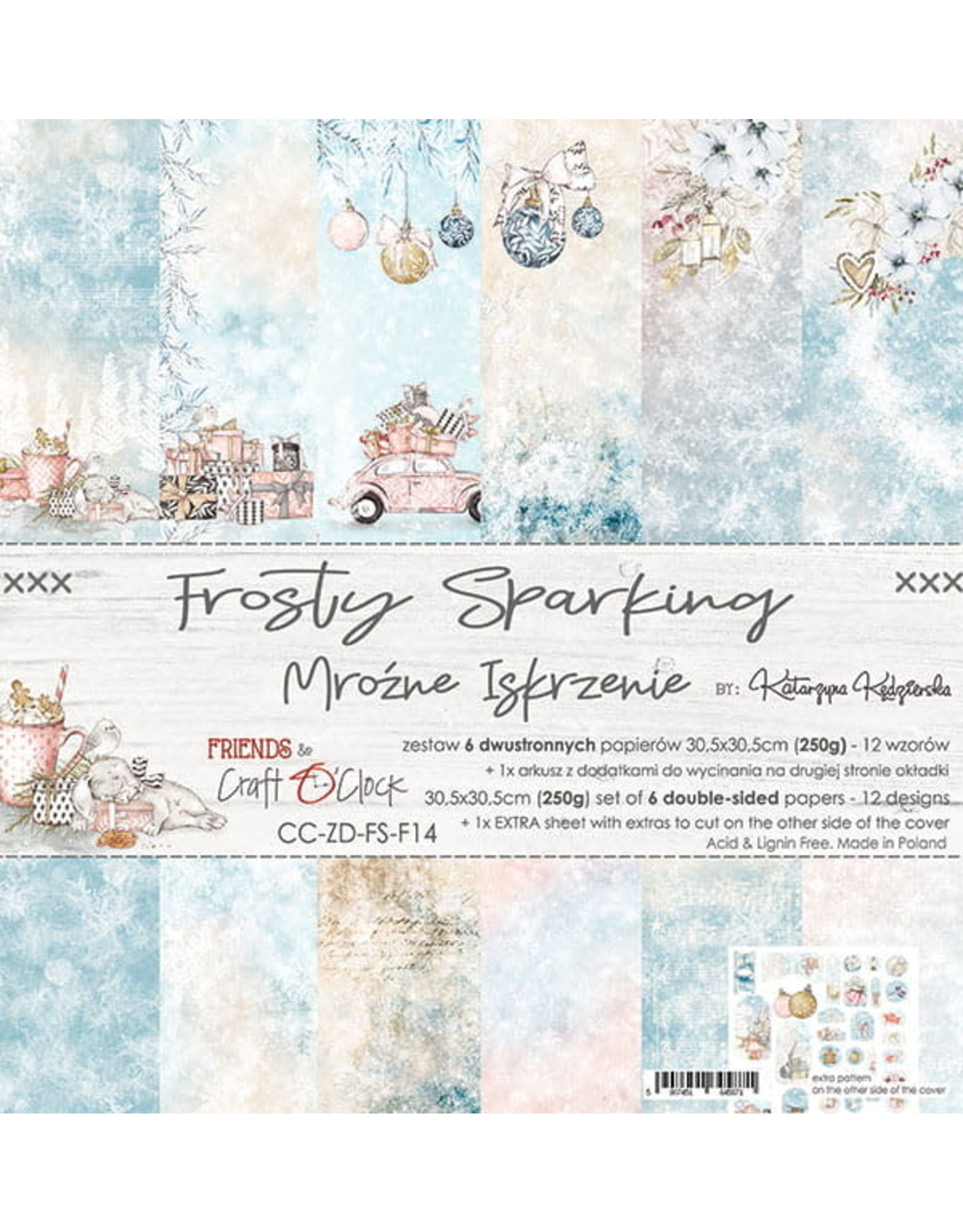 Craft O'Clock CraftO'Clock Frosty Sparking paperpad 30.5 x 30.5 cm