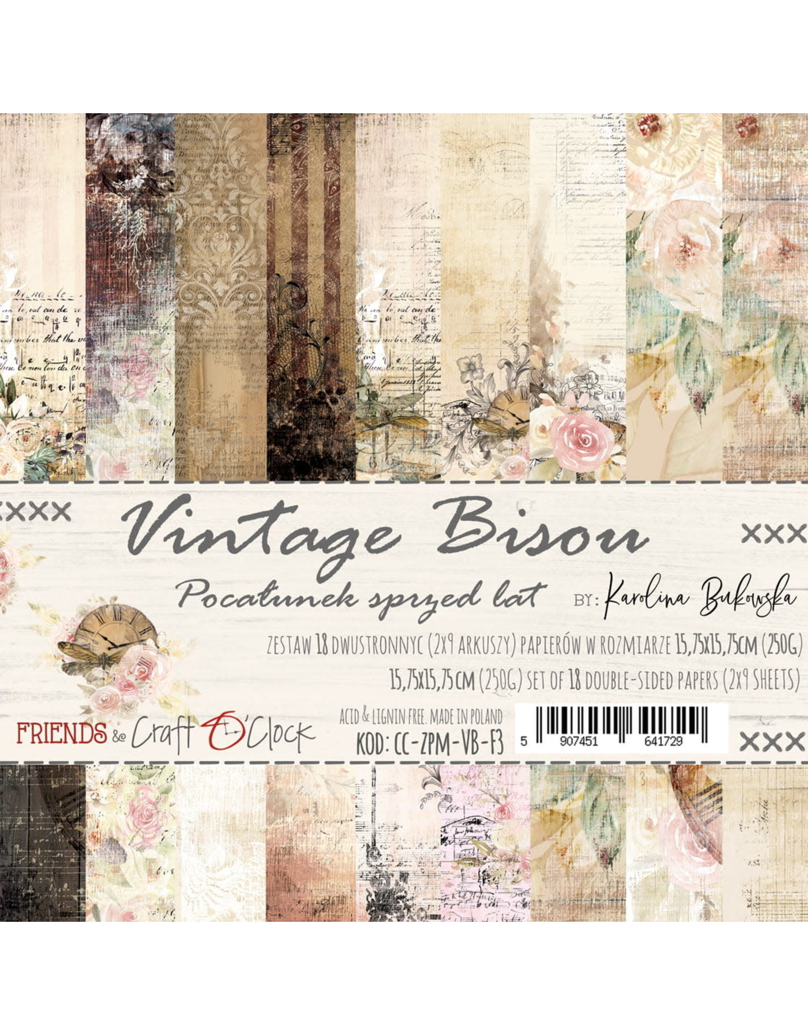 Craft O'Clock CraftO'Clock Vintage Bisou paperpads 15.2 x 15.2 cm