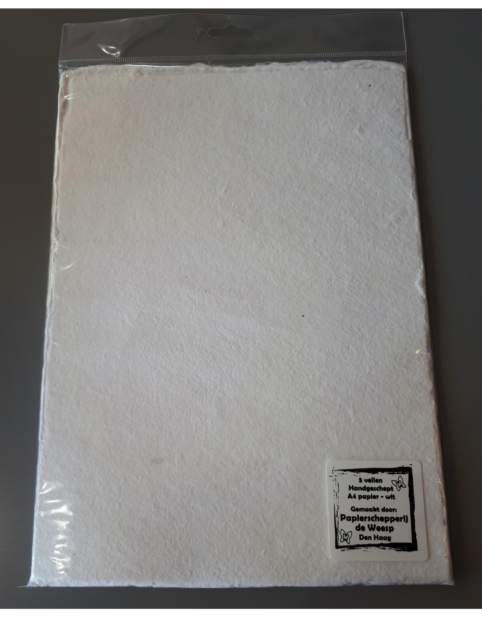 Handgeschept papier A4 (5 vel)  wit