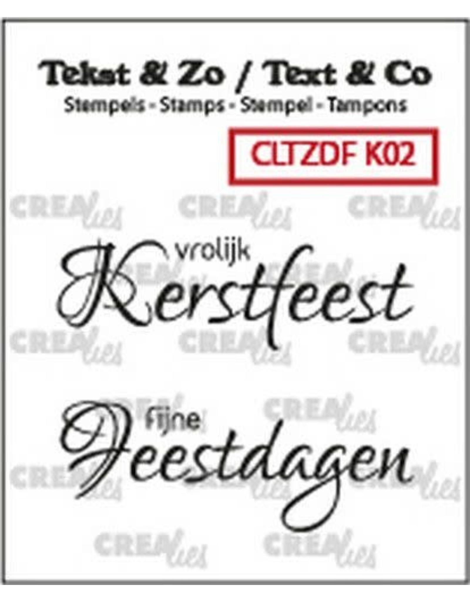 Crealies Crealies Clearstamp Tekst & Zo Font Kerst no. 2 (NL) CLTZDFK02 2x 15 x 42 mm
