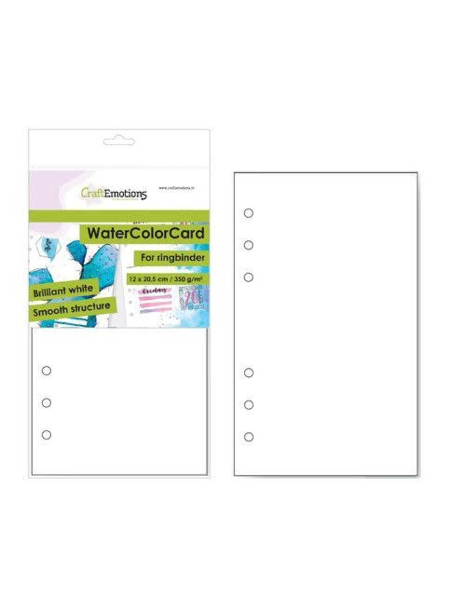 Craft Emotions CraftEmotions WaterColorCard - bril. Ringband wit 10 vl 12x20,5cm - 350 gr - 6 Ring A5