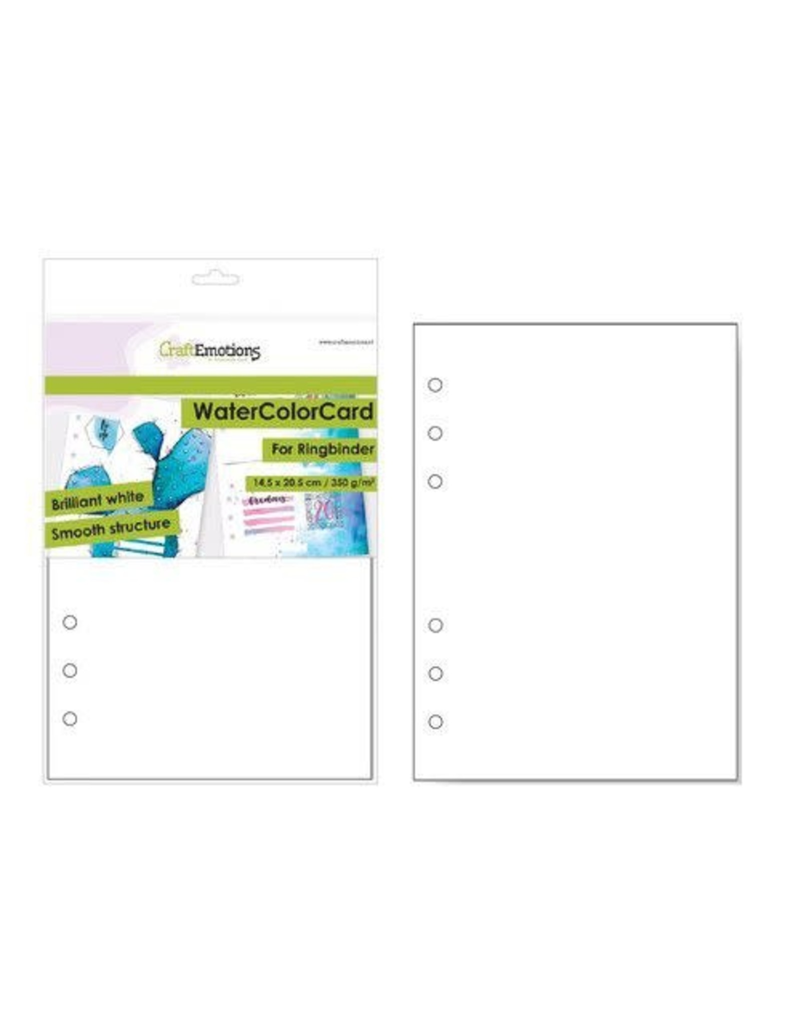 Craft Emotions CraftEmotions WaterColorCard - bril. Ringband wit 10 vl 14,5x20,5cm - 350 gr - 6 Ring A5