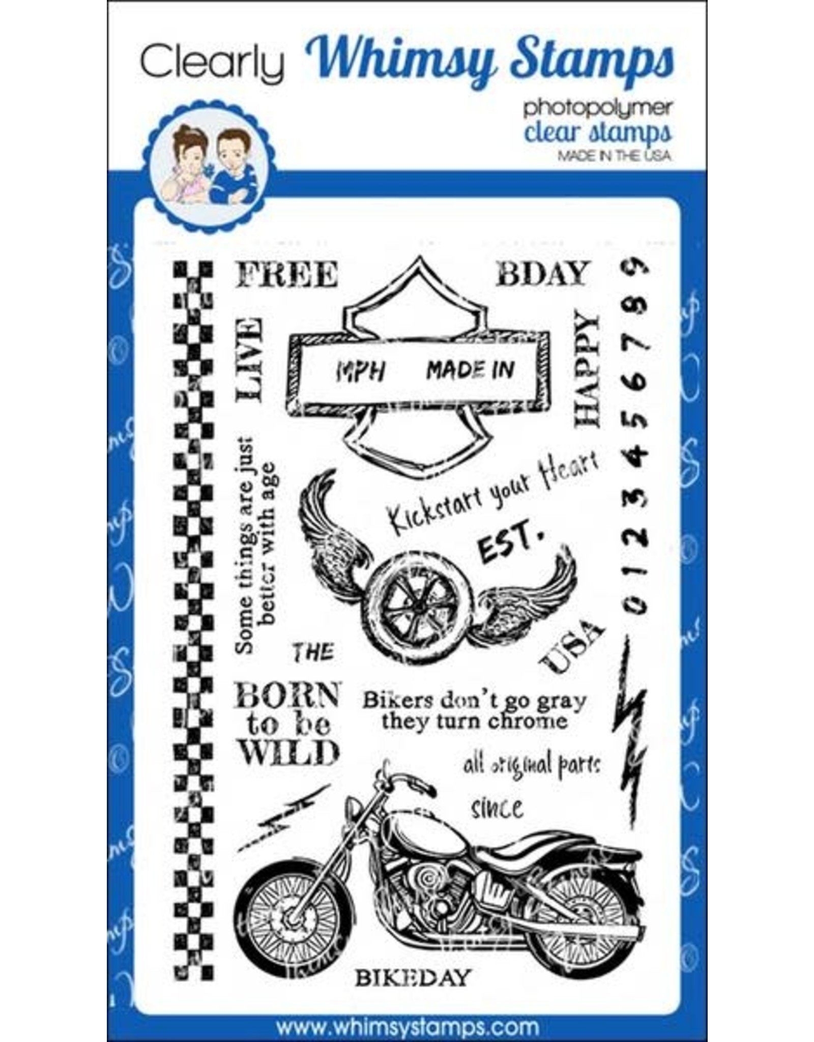 Whimsy Stamps Whimsy Stamps Biker Kickstart My Heart Clear Stamps CWSD178