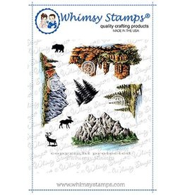Whimsy Stamps Whimsy Stamps Create a Scene - Mountains Rubber Cling Stamp DACAS03