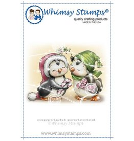 Whimsy Stamps Whimsy Stamps Penguins Under the Mistletoe Rubber Cling Stamp C1325
