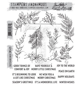 Stampers Anonymous Stampers Anonymous Tim Holtz Cling Mount Stamps: Sketch Greenery CMS429