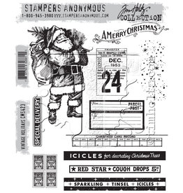 Stampers Anonymous Stampers Anonymous Tim Holtz Cling Mount Stamps:  Vintage Holidays CMS423